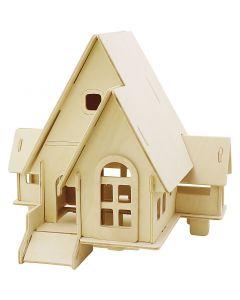 3D Puslespil, Hus med kørerampe, str. 22,5x17,5x20,5 , 1 stk.