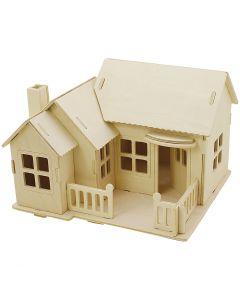 3D Puslespil, Hus med terrasse, str. 19x17,5x15 , 1 stk.