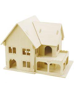 3D Puslespil, Hus med veranda, str. 22,5x16x17,5 , 1 stk.