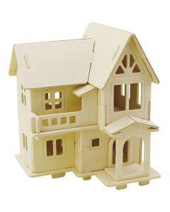 3D Puslespil, Hus med altan, str. 15,8x17,5x19,5 , 1 stk.
