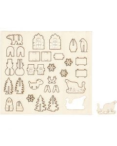 Saml-selv træfigur, jul, L: 15,5 cm, B: 17 cm, 1 pk.