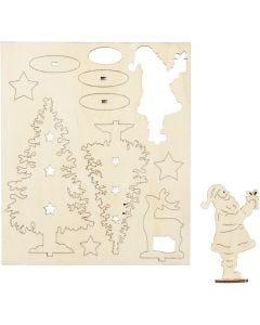 Saml-selv træfigur, julemand, juletræer, hjort, L: 20 cm, B: 17 cm, 1 pk.