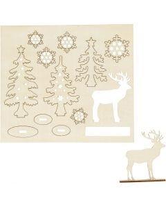 Saml-selv træfigur, skov med krondyr, L: 15,5 cm, B: 17 cm, 1 pk.