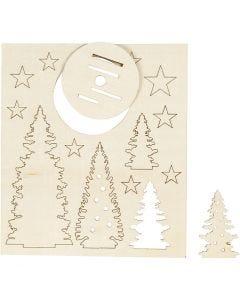 Saml-selv træfigur, juletræer, L: 20 cm, B: 17 cm, 1 pk.