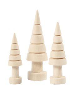 Juletræer, H: 5+6+7 cm, diam. 14+18+22 mm, 3 stk./ 1 pk.
