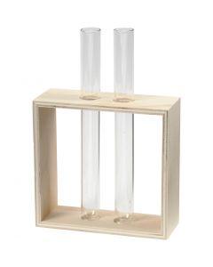 Reagensglasholder, H: 10+15 cm, dybde 4 cm, B: 10,5 cm, 1 stk.