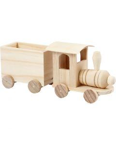 Tog med vogn, H: 9,5 cm, L: 21,5 cm, B: 6,5 cm, 1 stk.