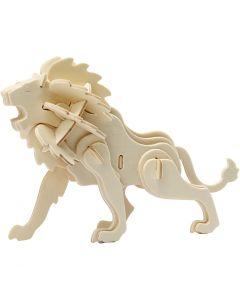 3D konstruktionsfigur, løve, str. 18,5x7x7,3 , 1 stk.