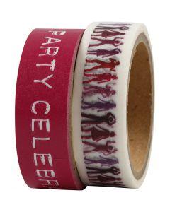 Masking Tape, B: 15 mm, pink, 2x5 m/ 1 pk.