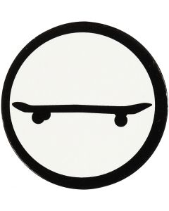Kartonmærkat, skateboard, diam. 25 mm, hvid/sort, 20 stk./ 1 pk.