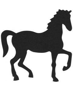 Kartonmærkat, hest, str. 60x64 mm, sort, 10 stk./ 1 pk.