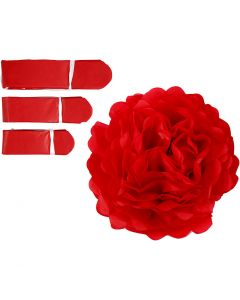 Papirpomponer, diam. 20+24+30 cm, 16 g, rød, 3 stk./ 1 pk.