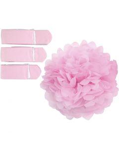 Papirpomponer, diam. 20+24+30 cm, 16 g, lyserød, 3 stk./ 1 pk.