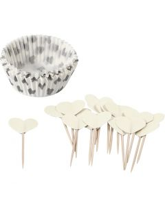 Muffinforme, H: 3 cm, diam. 5 cm, 40 g, råhvid, 24 sæt/ 1 pk.