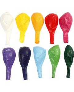 Balloner, runde, diam. 23 cm, ass. farver, 10 stk./ 1 pk.