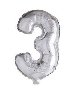 Folieballon, 3, H: 41 cm, sølv, 1 stk.