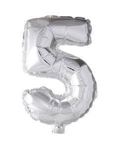 Folieballon, 5, H: 41 cm, sølv, 1 stk.