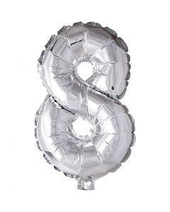 Folieballon, 8, H: 41 cm, sølv, 1 stk.