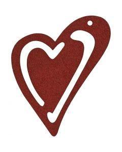 Asymmetrisk hjerte, str. 55x45 mm, vinrød, 10 stk./ 1 pk.