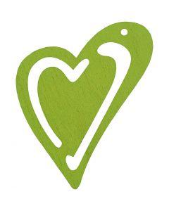 Asymmetrisk hjerte, str. 55x45 mm, limegrøn, 10 stk./ 1 pk.