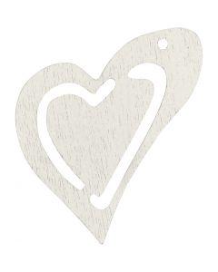 Asymmetrisk hjerte, str. 25x22 mm, hvid, 20 stk./ 1 pk.