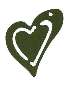 Asymmetrisk hjerte, str. 25x22 mm, mørk grøn, 20 stk./ 1 pk.