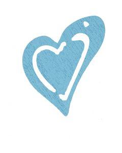 Asymmetrisk hjerte, str. 25x22 mm, lys turkis, 20 stk./ 1 pk.