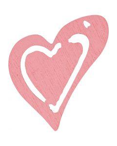Asymmetrisk hjerte, str. 25x22 mm, rosa, 20 stk./ 1 pk.