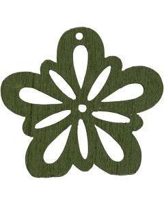 Blomst, diam. 27 mm, mørk grøn, 20 stk./ 1 pk.