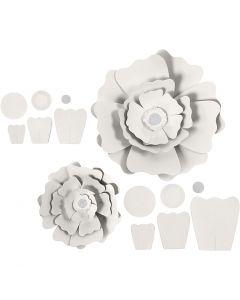 Papirblomster, diam. 15+25 cm, 230 g, hvid, 2 stk./ 1 pk.