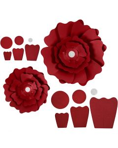 Papirblomster, diam. 15+25 cm, 230 g, rød, 2 stk./ 1 pk.