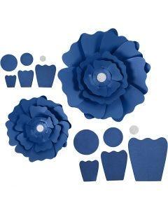 Papirblomster, diam. 15+25 cm, 230 g, blå, 2 stk./ 1 pk.