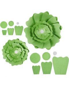 Papirblomster, diam. 15+25 cm, 230 g, grøn, 2 stk./ 1 pk.