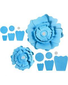 Papirblomster, diam. 15+25 cm, 230 g, lyseblå, 2 stk./ 1 pk.