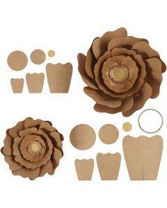 Papirblomster, diam. 15+25 cm, natur, 2 stk./ 1 pk.