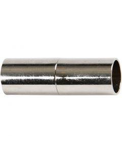 Magnetlås, L: 23 mm, hulstr. 6 mm, forsølvet, 2 stk./ 1 pk.