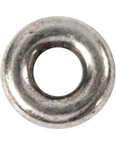 Ledperle, diam. 9 mm, hulstr. 4 mm, antik sølv, 15 stk./ 1 pk.