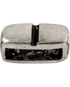 Ledperle, str. 6x14 mm, hulstr. 10x3 mm, antik sølv, 5 stk./ 1 pk.