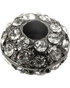 UDGÅET - Perle med rhinsten, 2 stk./ 1 pk.