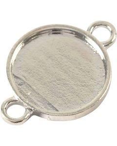 Cabochon ledperle, diam. 15 mm, hulstr. 2,5 mm, forsølvet, 25 stk./ 1 pk.