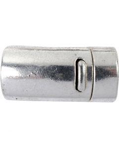 Magnetlås, diam. 26 mm, hulstr. 10 mm, antik sølv, 1 stk.