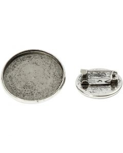 Brochenåle, diam. 18+25 mm, antik sølv, 6 stk./ 1 pk.