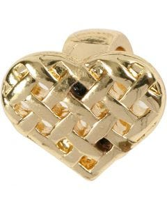 Hjerte, str. 13x11 mm, forgyldt, 1 stk.