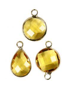 Smykkevedhæng, H: 15-20 mm, hulstr. 2 mm, gul, 1 pk.