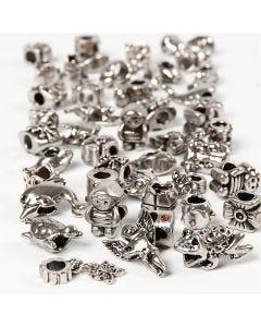Fashion links, diam. 7-18 mm, hulstr. 4 mm, Indhold kan variere, antik sølv, 100 g/ 1 pk.