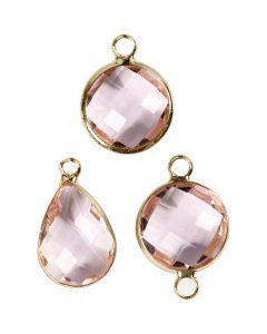 Smykkevedhæng, H: 15-20 mm, hulstr. 2 mm, lys rosa, 1 pk.