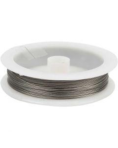Smykkewire, tykkelse 0,38 mm, sølv, 30 m/ 1 rl.