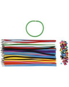 Armbånd , L: 20 cm, tykkelse 4 mm, ass. farver, 48 sæt/ 1 pk.