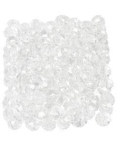 Facetperler, str. 3x4 mm, hulstr. 0,8 mm, krystal, 100 stk./ 1 pk.
