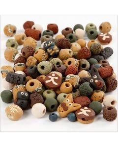 Keramikperler, str. 7-18 mm, hulstr. 2-4 mm, ass. farver, 300 g/ 1 pk.